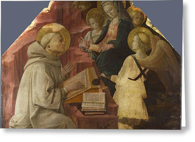 Fra Greeting Cards - Saint Bernards Vision of the Virgin Greeting Card by Fra Filippo Lippi
