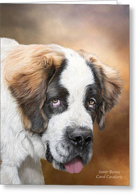 Puppies Mixed Media Greeting Cards - Saint Bernie Greeting Card by Carol Cavalaris