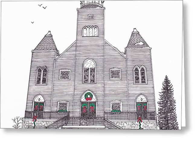 Saint Bridget's Church at Christmas Greeting Card by Michelle Welles