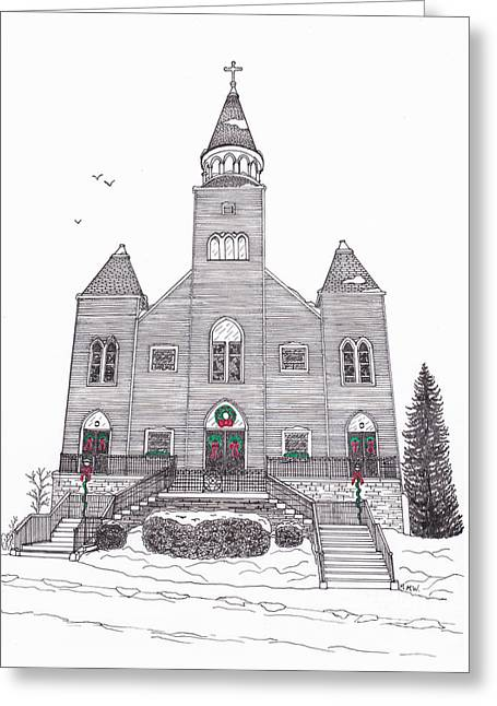 Technical Mixed Media Greeting Cards - Saint Bridgets Church at Christmas Greeting Card by Michelle Welles