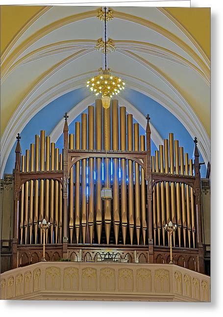 Pipe Organ Greeting Cards - Saint Bridgets Pipe Organ Greeting Card by Susan Candelario