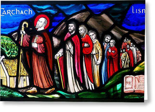 Stained Glass Ireland Greeting Cards - Saint Carthach Greeting Card by C H Apperson