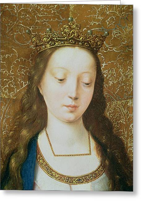 Gold Necklace. Greeting Cards - Saint Catherine Greeting Card by Goossen van der Weyden