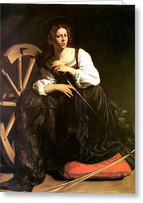 Fearlessness Digital Art Greeting Cards - Saint Catherine of Alexandria Greeting Card by Caravaggio