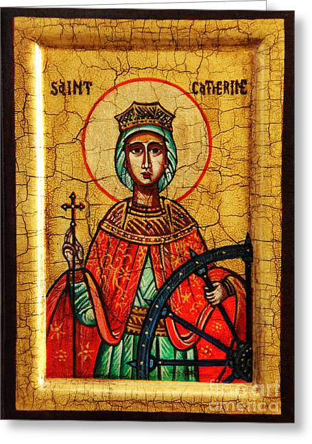 Catherine Wheel Greeting Cards - Saint Catherine of Alexandria Icon Greeting Card by Ryszard Sleczka