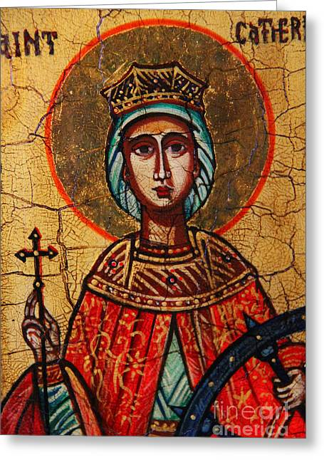 Catherine Wheel Greeting Cards - Saint Catherine of Alexandria  Greeting Card by Ryszard Sleczka
