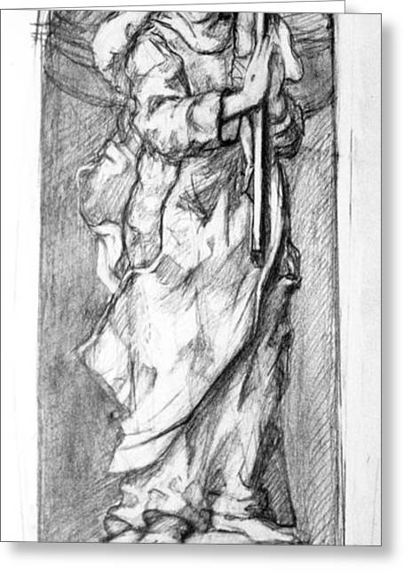 Stigma Drawings Greeting Cards - Saint Catherine of Siena Greeting Card by Peter Murphy