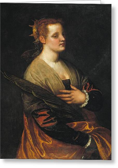 Catalunya Paintings Greeting Cards - Saint Catherine Greeting Card by Paolo Veronese
