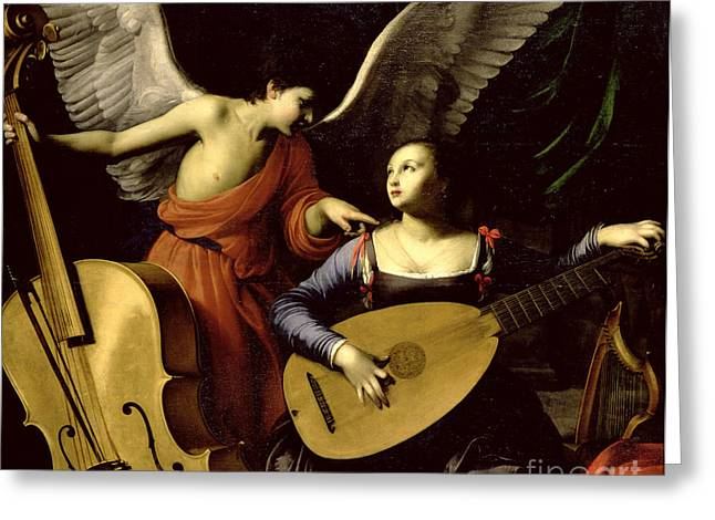 Saint Cecilia And The Angel Greeting Card by Carlo Saraceni