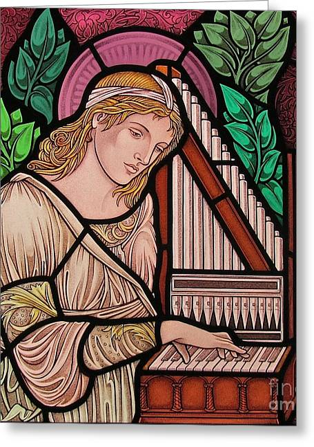 Stained Glass Art Greeting Cards - Saint Cecilia Greeting Card by Gilroy Stained Glass