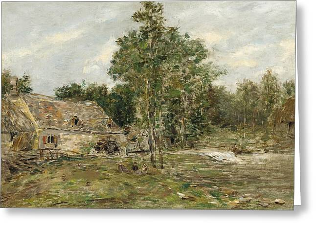 Grey Clouds Greeting Cards - Saint-Cenery the Mill Greeting Card by Eugene Louis Boudin