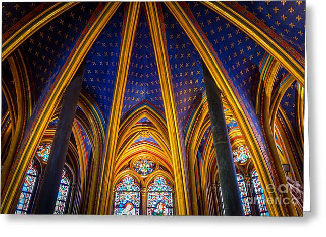 Catholic Photographs Greeting Cards - Saint Chapelle Ceiling Greeting Card by Inge Johnsson