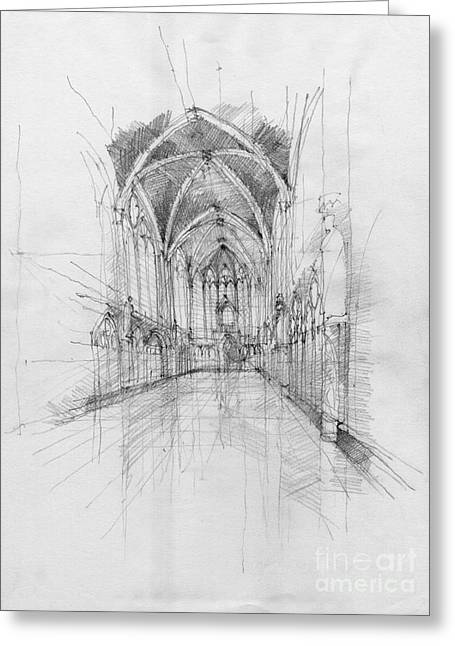 European work Drawings Greeting Cards - Saint Chapelle interior Greeting Card by Peut Etre