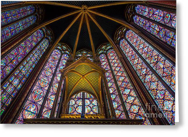 Gilded Greeting Cards - Saint Chapelle Windows Greeting Card by Inge Johnsson