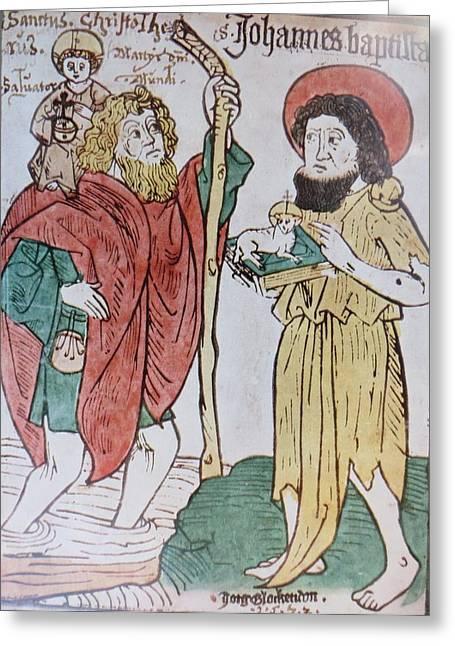Jordan Mixed Media Greeting Cards - Saint Christopher And Saint John the Baptist Greeting Card by German School Artist