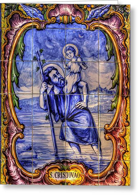 Saint Christopher Photographs Greeting Cards - Saint Christopher Carrying the Christ Child Across the River - Near Entrance to the Carmel Mission Greeting Card by Michael Mazaika