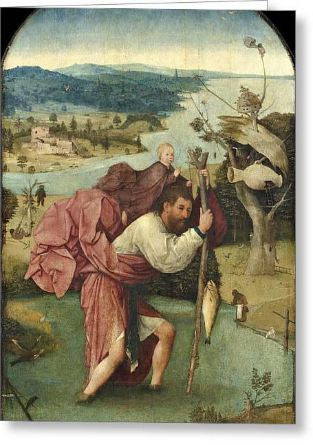 Saint Christopher Paintings Greeting Cards - Saint Christopher Greeting Card by Hieronymus Bosch