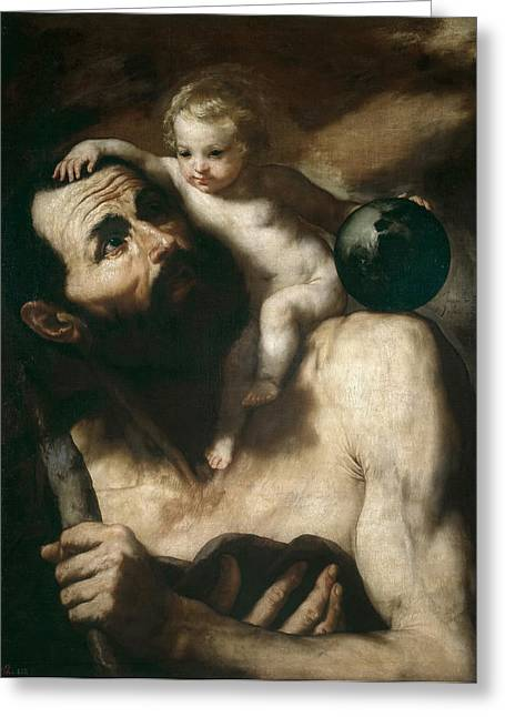 Saint Christopher Paintings Greeting Cards - Saint Christopher Greeting Card by Jusepe de Ribera