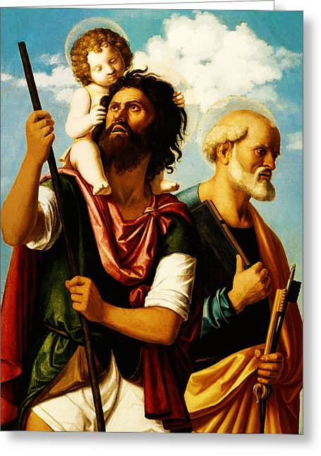Saint Christopher Digital Art Greeting Cards - Saint Christopher with Saint Peter Greeting Card by Digital Reproductions