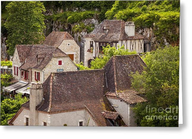 Midi Greeting Cards - Saint Cirq Rooftops Greeting Card by Brian Jannsen