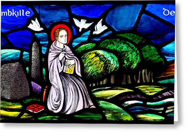Stained Glass Ireland Greeting Cards - Saint Columbkille Greeting Card by C H Apperson