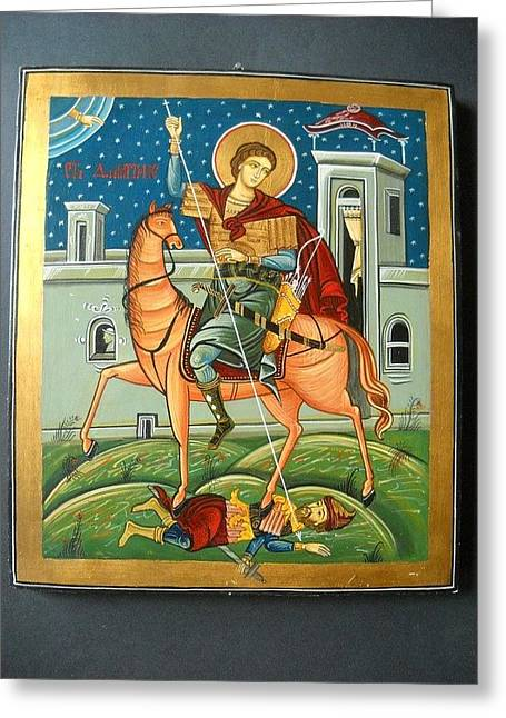 Icon Byzantine Photographs Greeting Cards - Saint Demeter St. Demetrios St. Dmitry hand painted orthodox holy icon Greeting Card by Denise Clemenco
