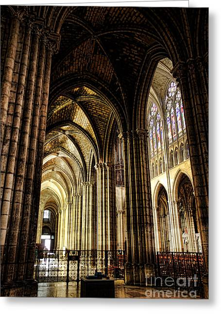Medieval Architecture Greeting Cards - Saint Denis Cathedral Greeting Card by Olivier Le Queinec