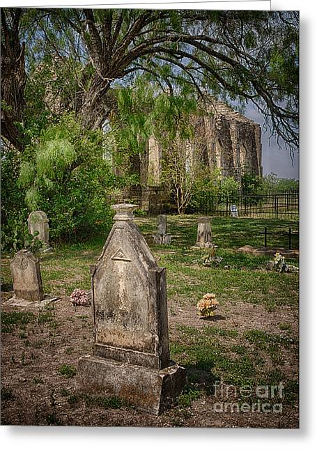 Saint Dominic Greeting Cards - Saint Dominic Catholic Church and Cemetery Greeting Card by Priscilla Burgers