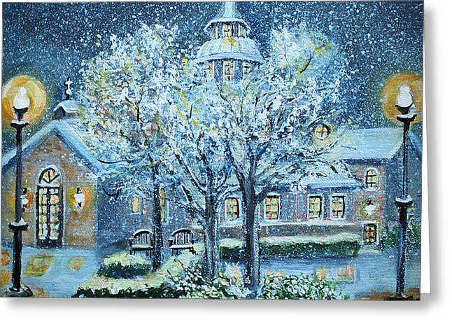 Snowy Evening Greeting Cards - Saint Dominic Chapel Providence College Greeting Card by Rita Brown