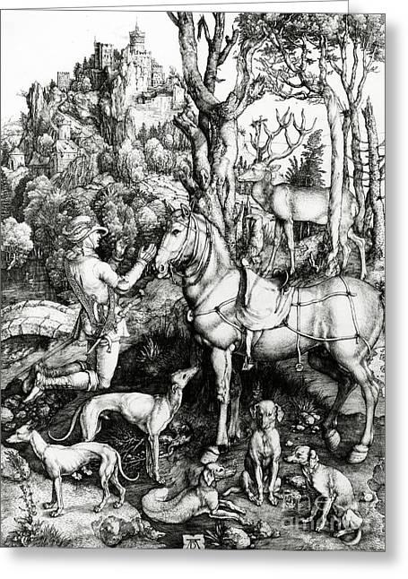 Northern Renaissance Greeting Cards - Saint Eustace Greeting Card by Albrecht Durer or Duerer