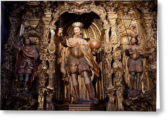 Spanish Art Sculpture Greeting Cards - Saint Ferdinand flanked by Saint Louis and Saint Hermenegild Greeting Card by Artur Bogacki