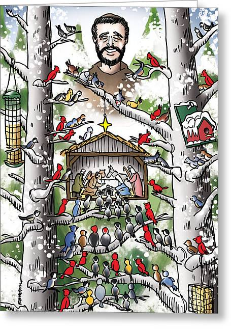 Mark Armstrong Greeting Cards - St. Francis And The Birds Greeting Card by Mark Armstrong