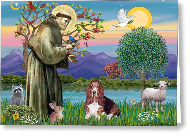 Francis B Greeting Cards - Saint Francis Blesses a Basset Hound Greeting Card by Jean Fitzgerald