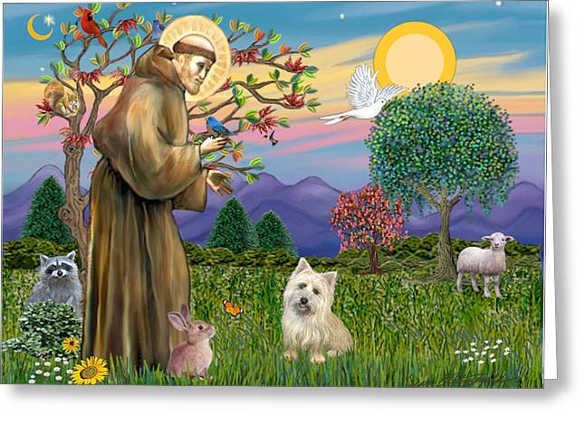 Francis B Greeting Cards - Saint Francis Blesses A Cairn Terrier Greeting Card by Jean B Fitzgerald
