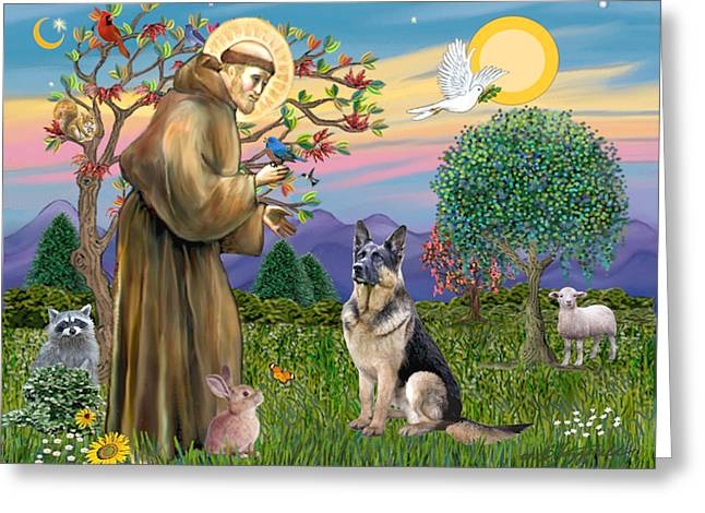 Francis B Greeting Cards - Saint Francis Blesses a German Shepherd Greeting Card by Jean Fitzgerald