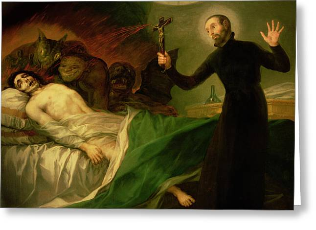 Healer Greeting Cards - Saint Francis Borgia Helping a Dying Impenitent Greeting Card by Goya