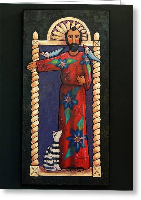 Retablos Greeting Cards - Saint Francis Greeting Card by Candy Mayer