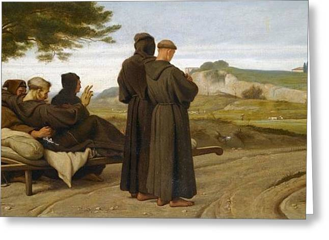 Francis Greeting Cards - Saint Francis Carries a Dying Greeting Card by Celestial Images