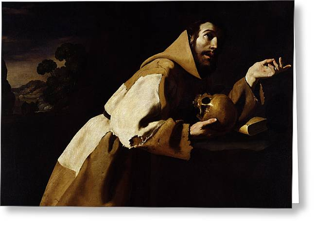 Impoverished Greeting Cards - Saint Francis in Meditation Greeting Card by Francisco de Zurbaran
