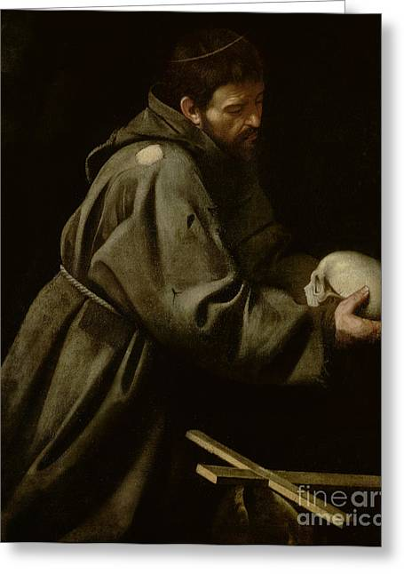 Michelangelo Caravaggio Greeting Cards - Saint Francis in Meditation Greeting Card by Michelangelo Merisi da Caravaggio
