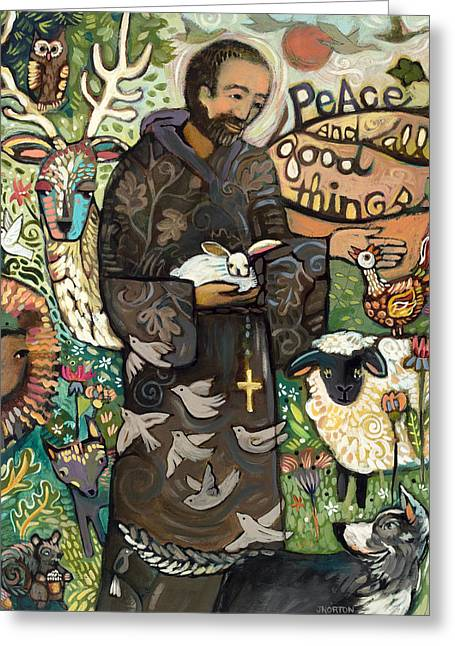 Biblical Greeting Card featuring the painting Saint Francis by Jen Norton