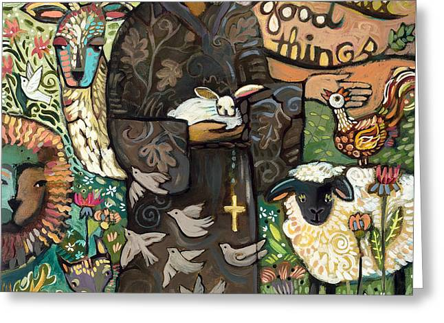 Saint Francis Greeting Card by Jen Norton