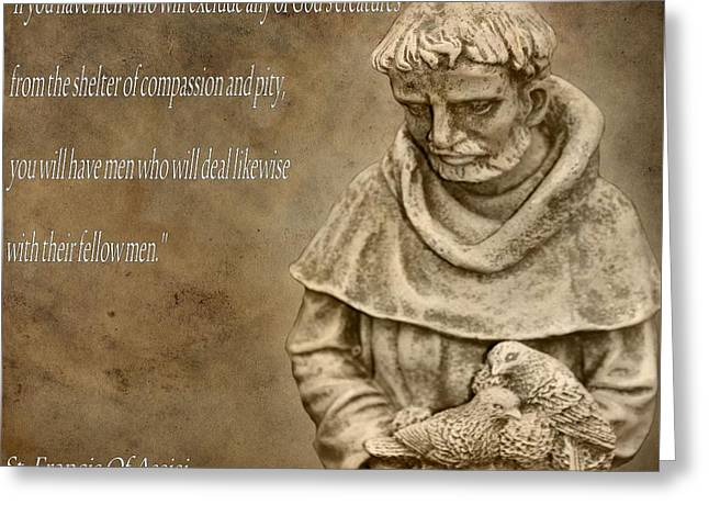 Spiritual Animal Greeting Cards - Saint Francis Of Assisi Greeting Card by Dan Sproul