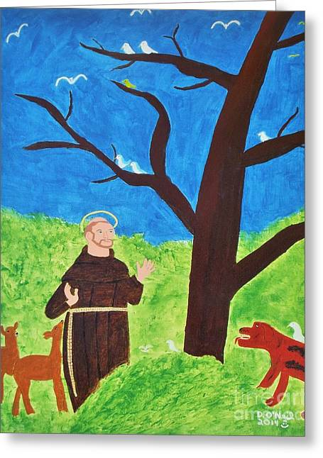 Patron Saint Of Animals Greeting Cards - Saint Francis of Assisi Greeting Card by Dennis ONeil