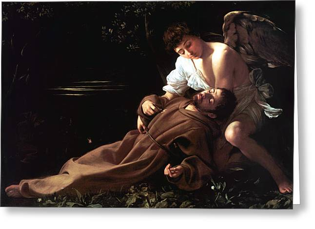 Michelangelo Caravaggio Greeting Cards - Saint Francis of Assisi in Ecstasy Greeting Card by Caravaggio