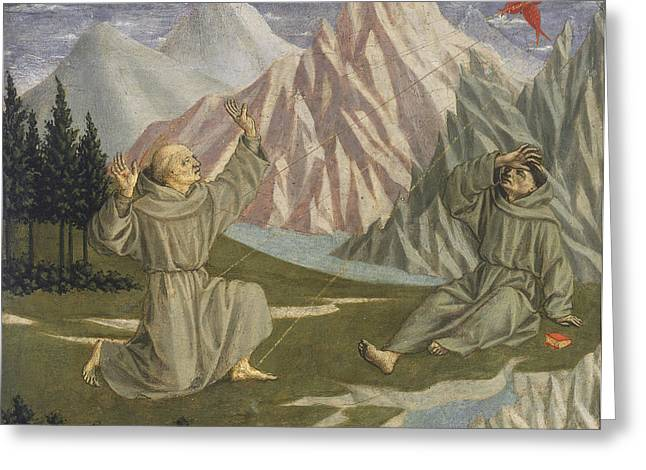 Stigma Greeting Cards - Saint Francis Receiving The Stigmata, C. 1445-50 Tempera On Panel Greeting Card by Domenico Veneziano
