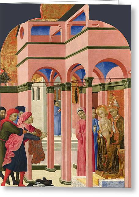 Earthly Greeting Cards - Saint Francis renounces his Earthly Father Greeting Card by Sassetta