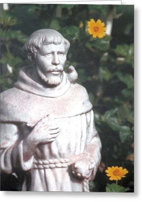 Patron Saint Of Animals Greeting Cards - Saint Francis Watching Over Greeting Card by Belinda Lee
