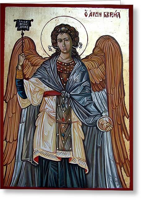 Byzantine Mixed Media Greeting Cards - Saint Gabriel Greeting Card by Filip Mihail