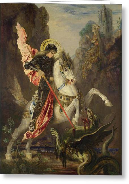 Gustave Moreau Greeting Cards - Saint George and the Dragon Greeting Card by Gustave Moreau
